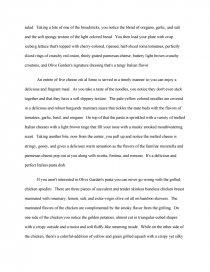 descriptive paragraph about a restaurant
