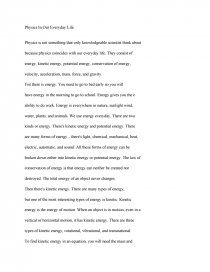 essay on physics in our daily life