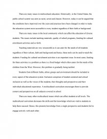 Issues In Multicultural Education  Essay Similar Essays