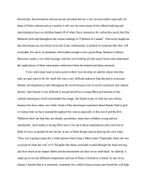 Essay On The Novel April Raintree  Bookmovie Report Essay Preview Essay On The Novel April Raintree The Yellow Wallpaper Essay also English Essays Sample High School Essay