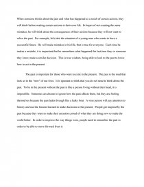 living in the past essay