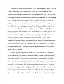 abraham lincoln struggle for union and emancipation essay zoom zoom
