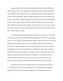 Shoe Horn Sonata And Matilda Distinctively Visual  Essay Essay Preview Shoe Horn Sonata And Matilda Distinctively Visual