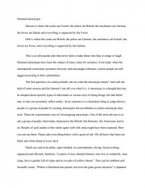 National Stereotypes - Essay