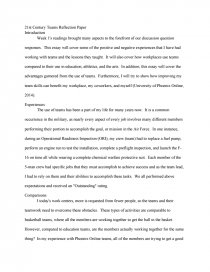 st century teams reflection paper essay zoom zoom